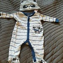 Toys R Us 0-3 Months Raccoon Babygrow & Hat Bluegreywhite Excellent Condition Photo