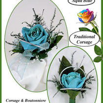 Traditional Aqua Blue Preserved Rose  Corsage & Boutonniere Combo Photo