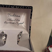 Traditions   Ladies  Swarovski Crystal Earrings  New  Large Hoops    Pierced Photo