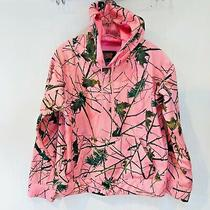 Trail Quest for the Outdoorsmen Hoodie Sz L Pink W Green Leaves and Branches Photo