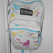 Trans by Jansport White Nylon Backpack With Bird Print  Photo