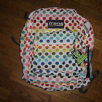 Trans by Jansport White W/ Colored Polka Dots Backpack 15