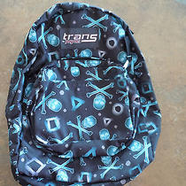 Trans Jansport Black Skull Backpack New Book Bag School Photo