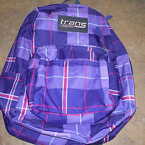 Trans Jansport Purple Pink Plaid Backpack New Book Bag School Photo