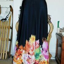 Travel Elements Black Border Print Longer Knit Skirt Sz L Photo