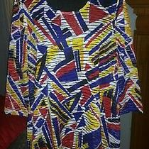 Travel Elements Blue Red Yellow White Semi Sheer Geometric Blouse Top Medium Photo
