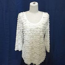 Travel Elements Ruffled Ivory Blouse With Gold-Colored Sequins - Size M - New Photo