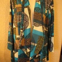 Travel Elements Xl/l Turquoise/black Print Liquid Knit Tuxedo-Front Open Jacket  Photo