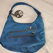 Travelon Hack-Proof Blue Convertible Hobo Shoulder Crossbody Purse Rfid Protect Photo