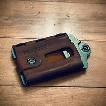 Trayvax Element-Canyon Red Leather Raw Metal Distressed Mens Wallet 1st Gen Photo