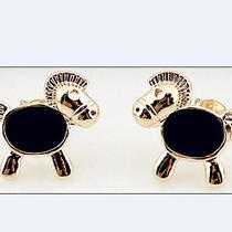 Trendy Black Horse Earrings for Women Lady Girls 14k Plated Rosegold Photo