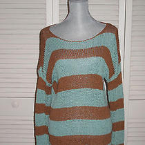 Trendy Kensie Striped Knit Sweater  Brown & Turquoise  Size M  Photo