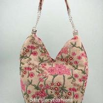 Trendy Linen/cotton Beaded Pink Florals Shoulder Bag Hobo Photo