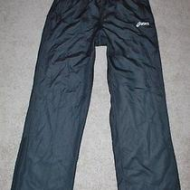 Trendy Mens Asics Athletic Pants Black Lined Pants Sz L Photo