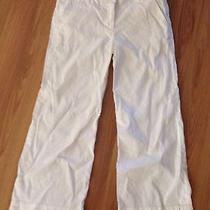 Trendy Theory White Linen Blend Capri Pants Sz 4 Photo