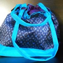 Tribal Ikat Silk Aqua Drawstring Handbag- Handmade- Top Quality Cambodia Photo