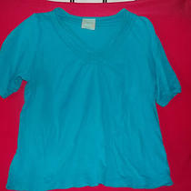 Trimmed Perfection by Avenue Tunic Top Size 18 / 20 100% Cotton Aqua / Blueish  Photo