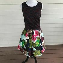 Trina Turk 20th Holiday 2015 Sz 2 Party Dress Lace Top Floral Skirt Sleeveless Photo