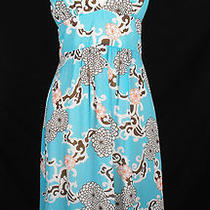 Trina Turk 4 Dress Aqua Floral Retro Print Spaghetti Straps Misses Summer Photo