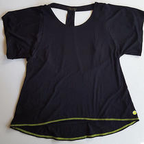 Trina Turk Black Recreation Cutout Jersey Tee - Black Neon Green Trim - Must See Photo