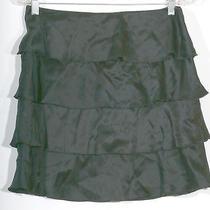 Trina Turk Black Tiered Ruffle Silk Satin Skirt - Nwot - 4 Photo