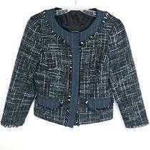 Trina Turk Blue Gray Tweed Blazer Jacket Women's Size 6 Photo