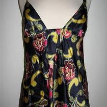Trina Turk Blue Multi Floral Silk Halter Blouse Tank Top Usa L Photo