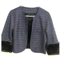 Trina Turk Blue Tweed Jacket Size 8 Lined Blazer Black Faux Fur Cuffs Photo