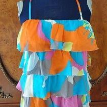 Trina Turk Bright Colorful Tiered Sleeveless Ruffle Top Sz M New Photo