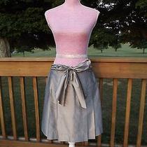 Trina Turk Clover Silver Bow Skirt Sz 8 Tie Waist Party Cocktail a-Line Silk Photo