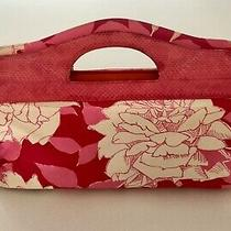 Trina Turk Clutch Purse Pink Leather Handle Pink & White Summer Print W/dust Bag Photo