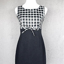 Trina Turk Dress Size 4 Black & White Dupioni Empire Sheath Bow Detail  Photo