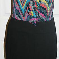 Trina Turk Dress Size 8 Bright Colors Black Sleeveless Silk Lined Photo