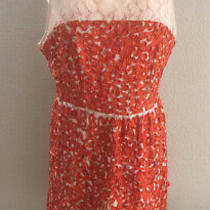 Trina Turk Dress Sleeveless Peach Lace Dress With Orange Ribbon Embellished Sz  Photo