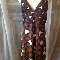 Trina Turk Geometric Print Spaghetti Strap Silk Jersey  v-Neck 'O' Ring Sz 12    Photo