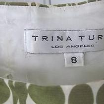 Trina Turk Green Cream Geometric Print Bows Lined Silk Tunic Top Blouse Sz 8 Photo