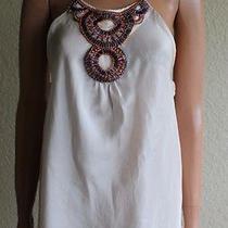 Trina Turk Ivory Cream Silk Halter Beaded Camisole Tank Top Women's Petite Photo
