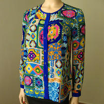 Trina Turk Lcd Top Multicolor Ethnic Print Blouse P Xs 278 6010b Bmp Photo