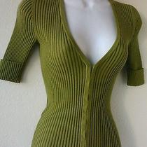 Trina Turk Los Angeles Top Sz S Green Ribbed Knit Ss Hook Eye Closure Shirt Photo