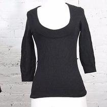 Trina Turk Los Angeles Women's Black Scoop Neck 100% Cashmere Sweater S Photo