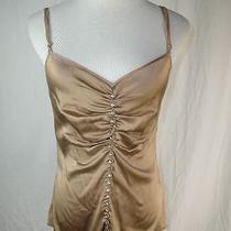 Trina Turk Lovely Light Brown Silk Rhinestone Glass Button Sleeveless Top S Photo