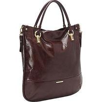 Trina Turk Manhattan Leather Tote - Wine Leather Handbag New Photo