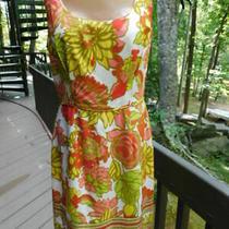 Trina Turk Multi-Color Yellow Pink Coral Green Silk Signature Sleeveless Dress  Photo