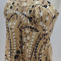 Trina Turk Multi Silk Top Top 168 Shirt Blouse Sexy Cami Tank Geo Dots Sz M New Photo