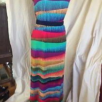 Trina Turk Multicolored Striped Abstract Fun Strapless Maxi Dress S  Photo