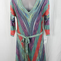 Trina Turk Nwt Green Red Blue Multi Color Striped Knit Dress Size L 288 Photo