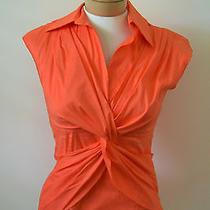Trina Turk Orange Twist Shirt Small Photo