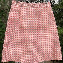Trina Turk Orange/white Square Print a-Line Skirt  Pre-Owned  Size  4 279 Photo