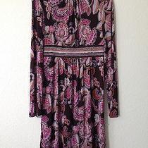 Trina Turk Paisley Silk Turtleneck Long Sleeve Hippie Vintage Dress 8 Photo