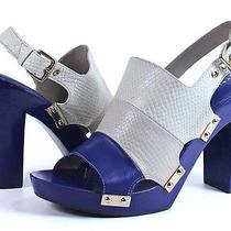 Trina Turk Pasadena Heel Ivory Navy Blue Sandal Color Block Shoes 40.5eu 9.5 New Photo